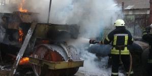 У Житомирі загорівся асфальтний каток (ФОТО)