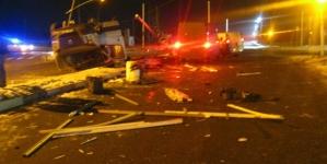 У Коростені зіштовхнулися три мікроавтобуси. Один з автомобілів перекинувся