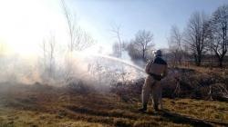 Жінка, яка намагалася загасити пожежу на узбіччі дороги та впала у вогонь, потрапила у реанімацію