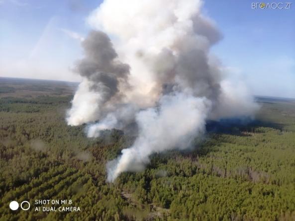 Масштабна пожежа на півночі області: з вогнем бореться авіація (ФОТО)