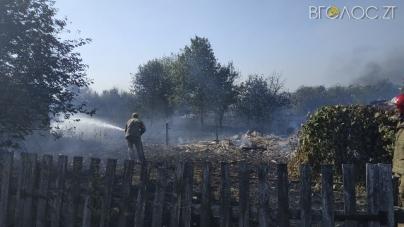 Масштабна пожежа на Житомирщині: п'ять обійсть зайнялися від сухої трави. Постраждала жінка