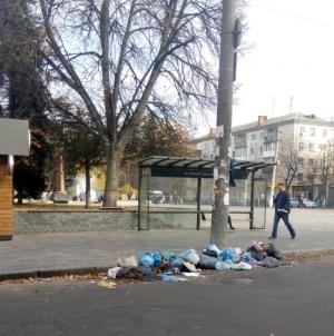 Неподалік новозбудованого фонтану житомиряни виносять сміття на дорогу