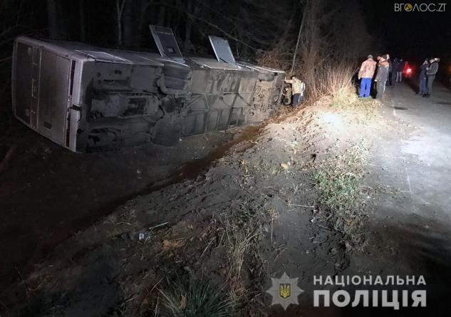 Під Новоградом перекинувся міжнародний автобус з пасажирами