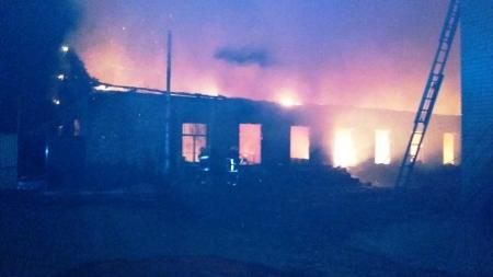 Під Житомиром згорів склад підприємства, де виготовляли та зберігали двері на продаж