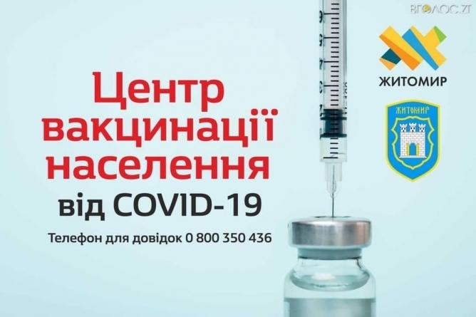 Житомирський центр вакцинації змінить графік роботи
